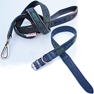 Harris tweed dog collar & lead set