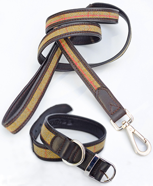 Dog Collar & Lead Set - mustard tweed