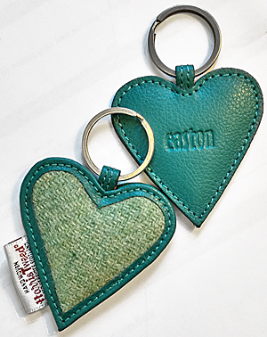 Harris tweed & leather keyring set