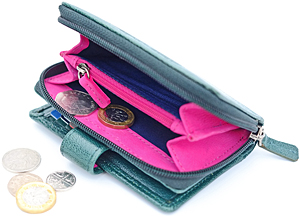 Green Penny Purse with Card-Guard Lining