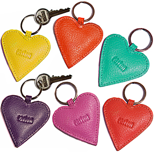 Set of 6 Heart keyrings
